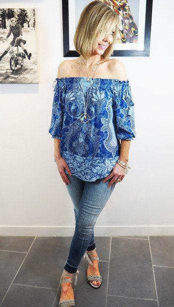 Hale Bob Blue Off Shoulder Top & J Brand Released Hem Jeans