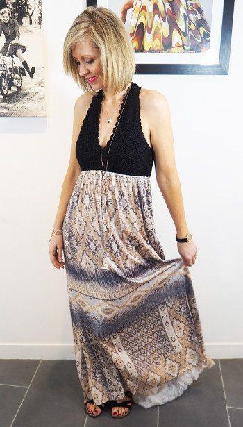 Hale Bob Crochet Maxi Dress & Sam Edelman Gemma Sandals