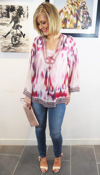Hale Bob Pink Silk Blouse & Paige Denim Hoxton Jeans