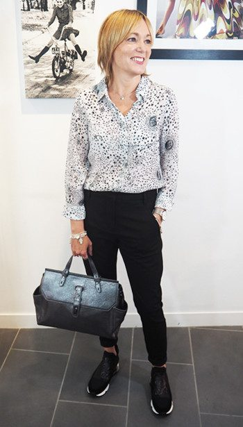 Lily and Lionel Daria Blouse, Fiveunits trousers, Ash Lazer trainers and Liebeskind bag