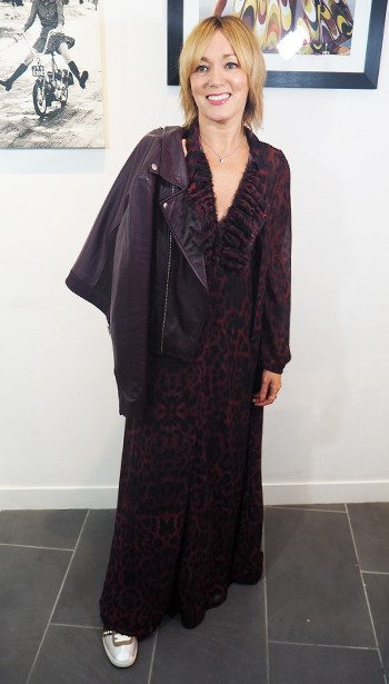 Lily and Lionel Fay 70s Maxi Dress, Ba&sh Leather Biker Jacket and Ash Ginger Trainers
