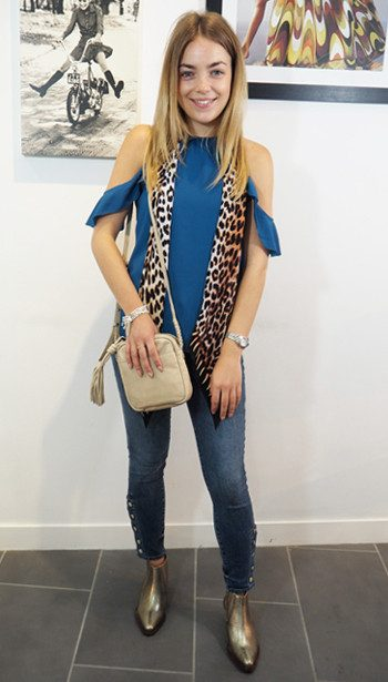 Cooper & Ella top, J Brand Jeans, and Hudson London boots