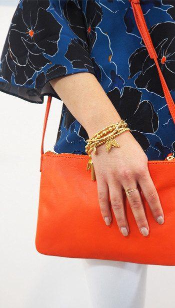 Cooper & Ella Off Shoulder Top, Becksondergaard bag and ChloBo bracelets
