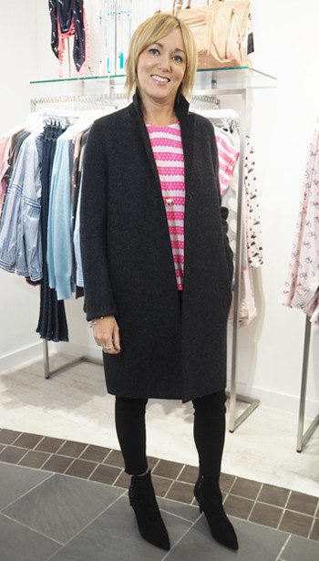 Harris Wharf Coat, Mercy Delta Blair Top, J Brand Anja Cropped Cuff Jeans and Kendall & Kylie Ankle Boots