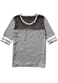 Maison Scotch Colour Block Tee - Grey Melange