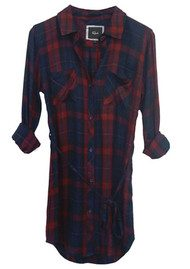 Rails Nadine Shirt Dress - Cabernet & Navy