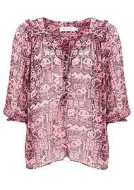 T Bags Los Angeles Chiffon Printed Blouse - Pink
