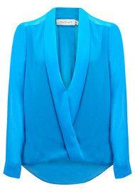 T Bags Los Angeles Rowen Long Sleeve Draped Blouse - Blue