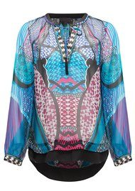 Hale Bob Silk Printed Top - Teal