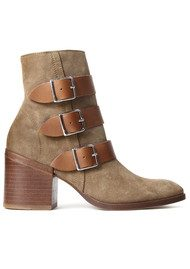 H By Hudson Moss Suede Buckle Boots - Beige