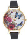 Olivia Burton Enchanted Garden Butterflies Watch - Black & Gold