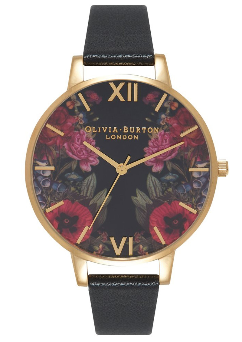 Olivia Burton Enchanted Garden Mirror Watch - Black & Gold main image