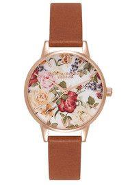 Olivia Burton Enchanted Garden Floral Midi Watch - Tan & Rose Gold