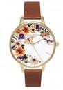 Olivia Burton Enchanted Garden Flower Festival Watch - Tan & Gold