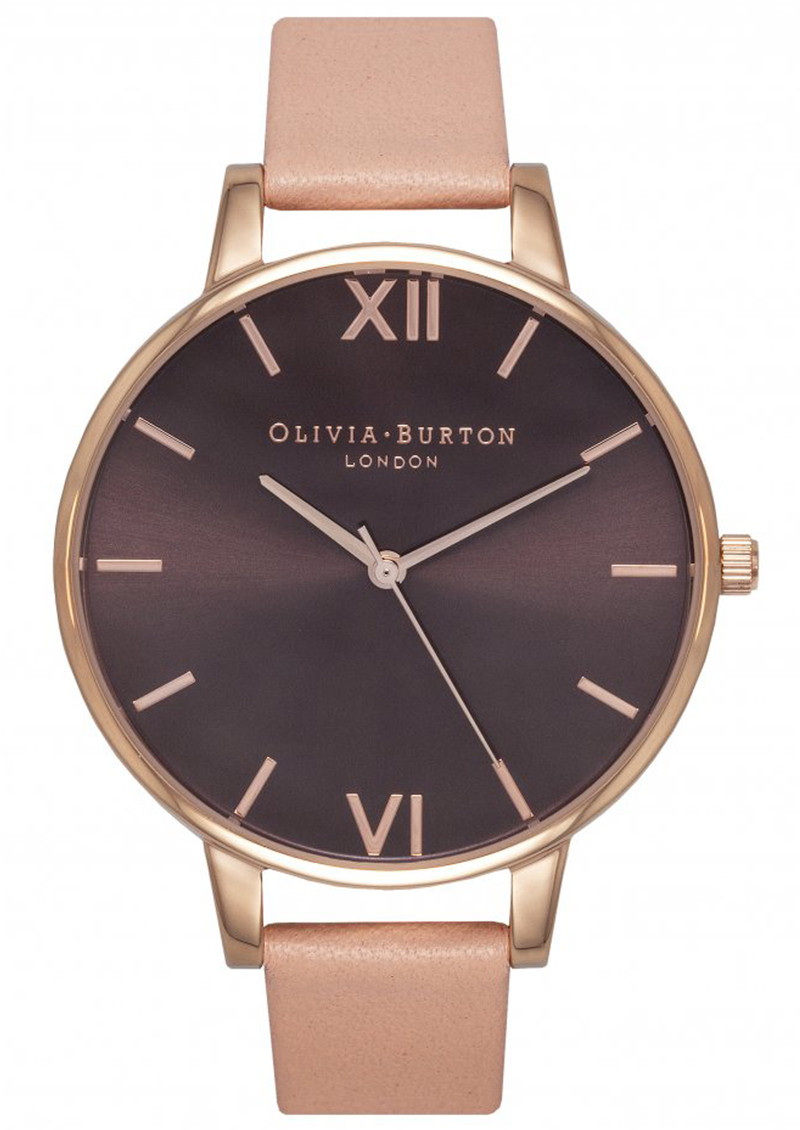 Olivia Burton Big Brown Dial Watch - Dusty Pink & Rose Gold main image
