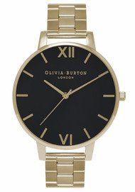 Olivia Burton Big Black Dial Bracelet Watch - Gold