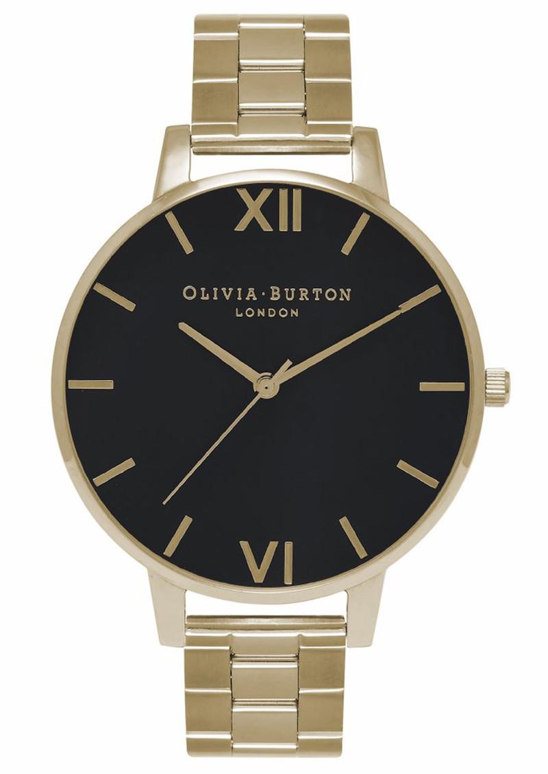 Olivia Burton Big Black Dial Bracelet Watch - Gold main image