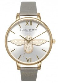 Olivia Burton Moulded Bee Watch - Grey, Gold & Silver