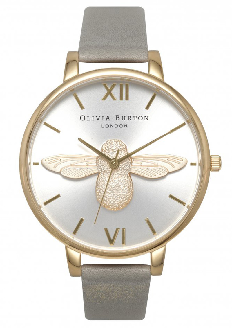 Olivia Burton Moulded Bee Watch - Grey, Gold & Silver main image