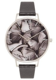 Olivia Burton Woodland Butterfly Watch - Black & Silver