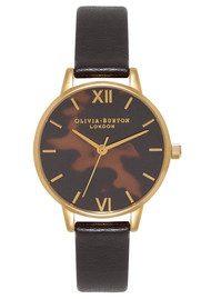 Olivia Burton Midi Tortoiseshell Dial Watch - Black & Gold