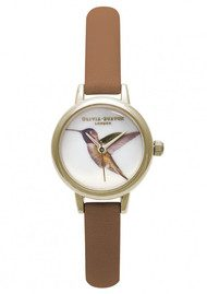 Olivia Burton Mini Hummingbird Watch - Tan & Gold