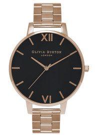 Olivia Burton Big Black Dial Bracelet Watch - Rose Gold