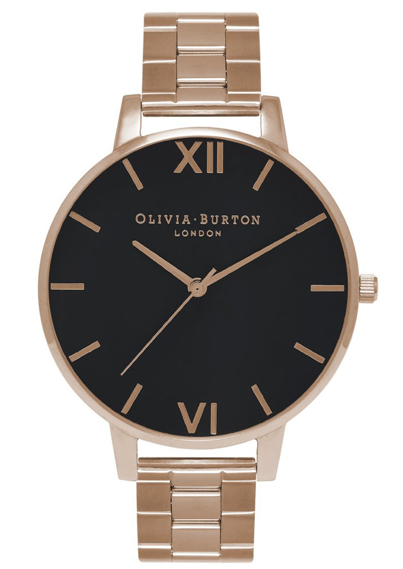 Olivia Burton Big Black Dial Bracelet Watch - Rose Gold  main image