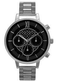 Olivia Burton Chrono Black Dial Bracelet Watch - Silver