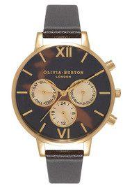 Olivia Burton Chrono Tortoiseshell Detail Watch - Dark Chocolate & Gold