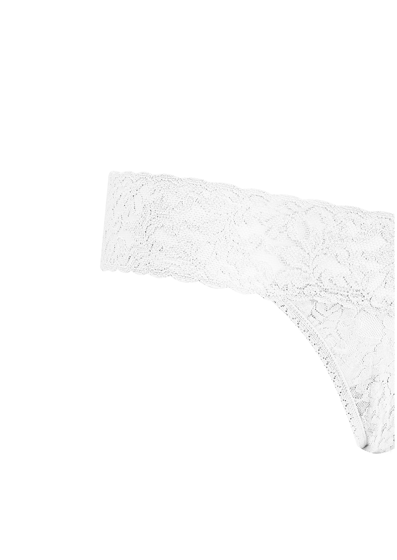 Hanky Panky Signature Rolled Lace Thong - White main image