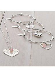 ChloBo Love Always Wins Cute Mini Sparkle Open Heart Bracelet - Silver
