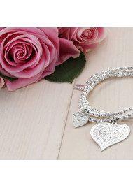 ChloBo Love Always Wins Cute Mini Sparkle Heart in Heart Bracelet - Silver