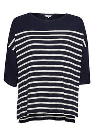 Great Plains Waffle On Cropped Tee - True Navy & Seasalt
