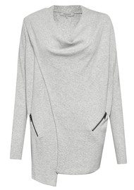 Great Plains Drape Zip Detail Cardigan - Lunar Grey Melange