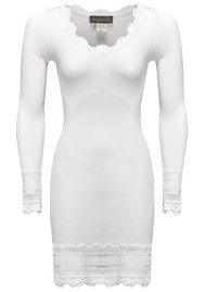 Rosemunde Long Sleeve Wide Lace Silk Blend Mid Thigh TShirt - New White