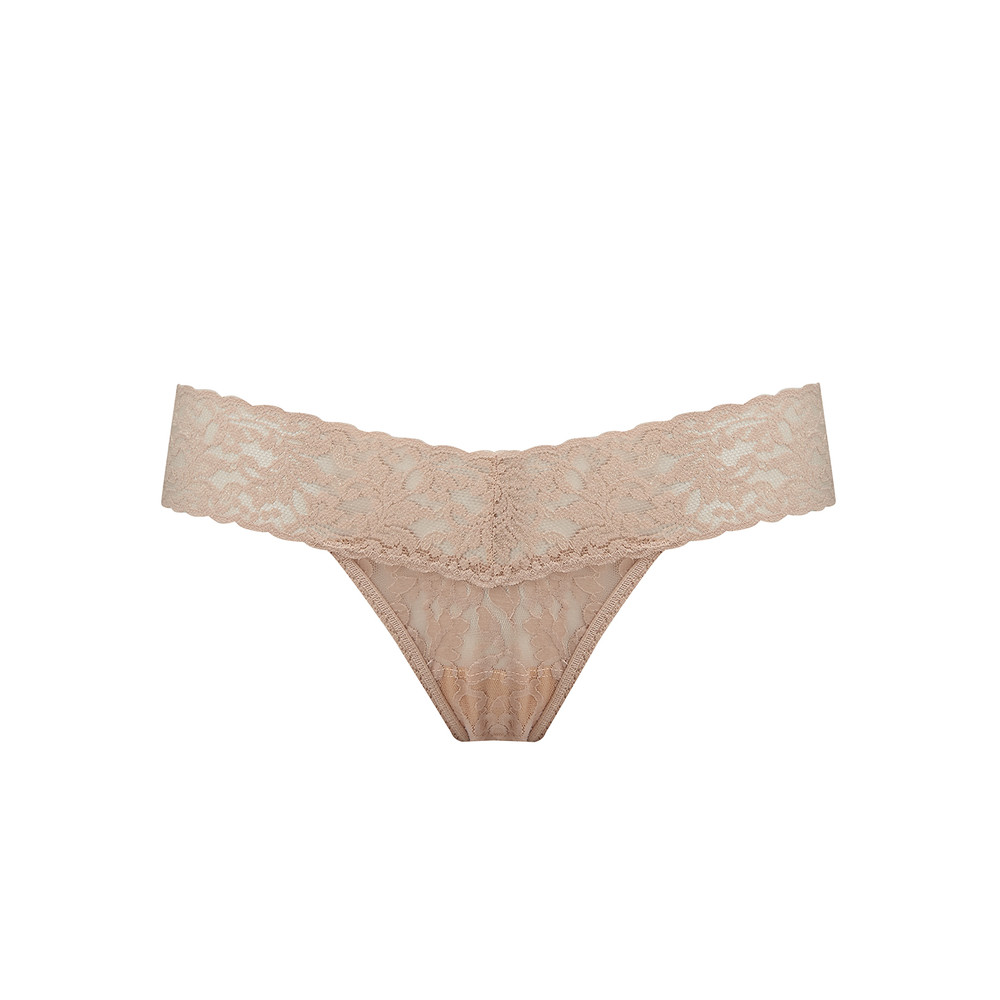 Signature Rolled Lace Thong - Chai