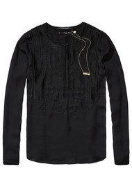 Maison Scotch Silky Embroidered Blouse - Black