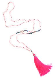 TRIBE + FABLE Single Tassel Necklace - Pink & White