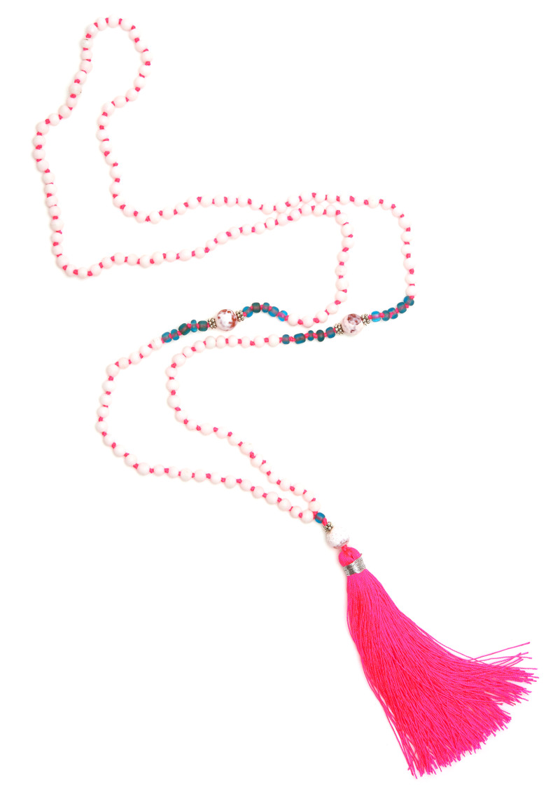 TRIBE + FABLE Single Tassel Necklace - Pink & White main image