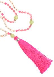 TRIBE + FABLE Single Tassel Necklace - Pink & Lime