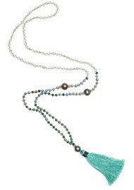 TRIBE + FABLE Single Tassel Necklace - Green & Blue