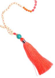 TRIBE + FABLE Single Tassel Necklace - Coral & Pink