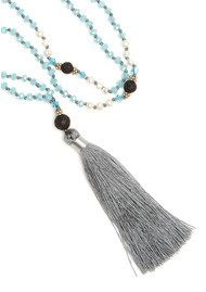 TRIBE + FABLE Single Tassel Necklace - Blue & Grey
