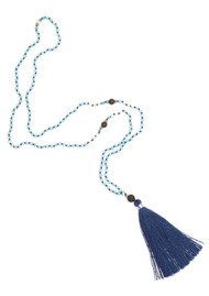 TRIBE + FABLE Single Tassel Necklace - Navy Blue