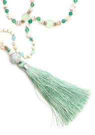 TRIBE + FABLE Single Tassel Necklace - Shell & Mint