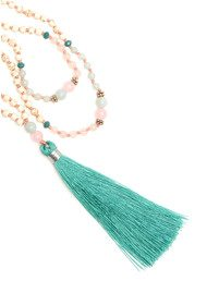 TRIBE + FABLE Single Tassel Necklace - Pink & Aqua
