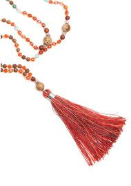 TRIBE + FABLE 	 Single Tassel Necklace - Mardi Gras Red