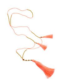 TRIBE + FABLE Skinny Tassel Necklace - Coral