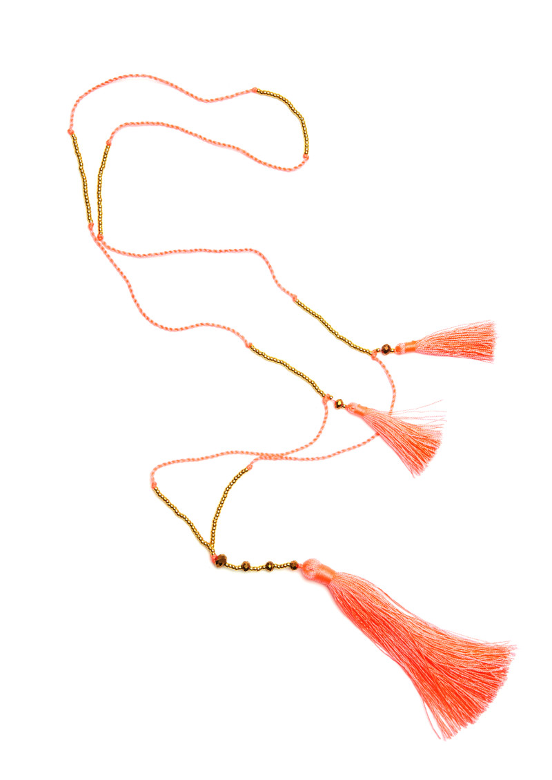 TRIBE + FABLE Skinny Tassel Necklace - Coral main image